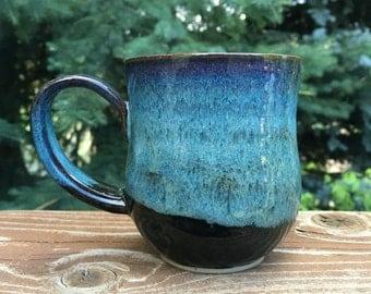 Blue Handmade Mug, Wheel Thrown Ceramic Mug, Pottery Mug