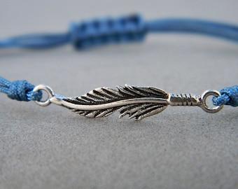 Feather bracelet. Sterling silver bracelet.Tiny silver bead bracelet. Silver beaded bracelet. Friendship bracelet.Cord bracelet.String .C028