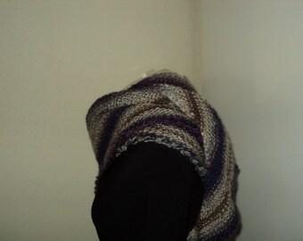 Stylish handknit wrap/shawl in beige/grey/blue shades *Ready to Ship*