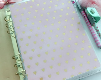 Double Sided Laminated Dashboard : A5 / Personal PINK With heart gold foil Patterns - Re-Usable Page Marker Bookmark Insert
