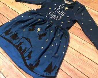 Girls Christmas dress - O Holy Night, Nativity dress
