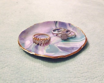 Plum Tranquility Ring Dish with Gold Trimming