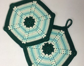 Retro Crocheted Potholders - set of 2 (#02-16-4)