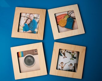 Square Frame Magnetic Instagram photo wooden fridge magnet 4x4 photo picture frames home decor engrave gift idea display social media photos