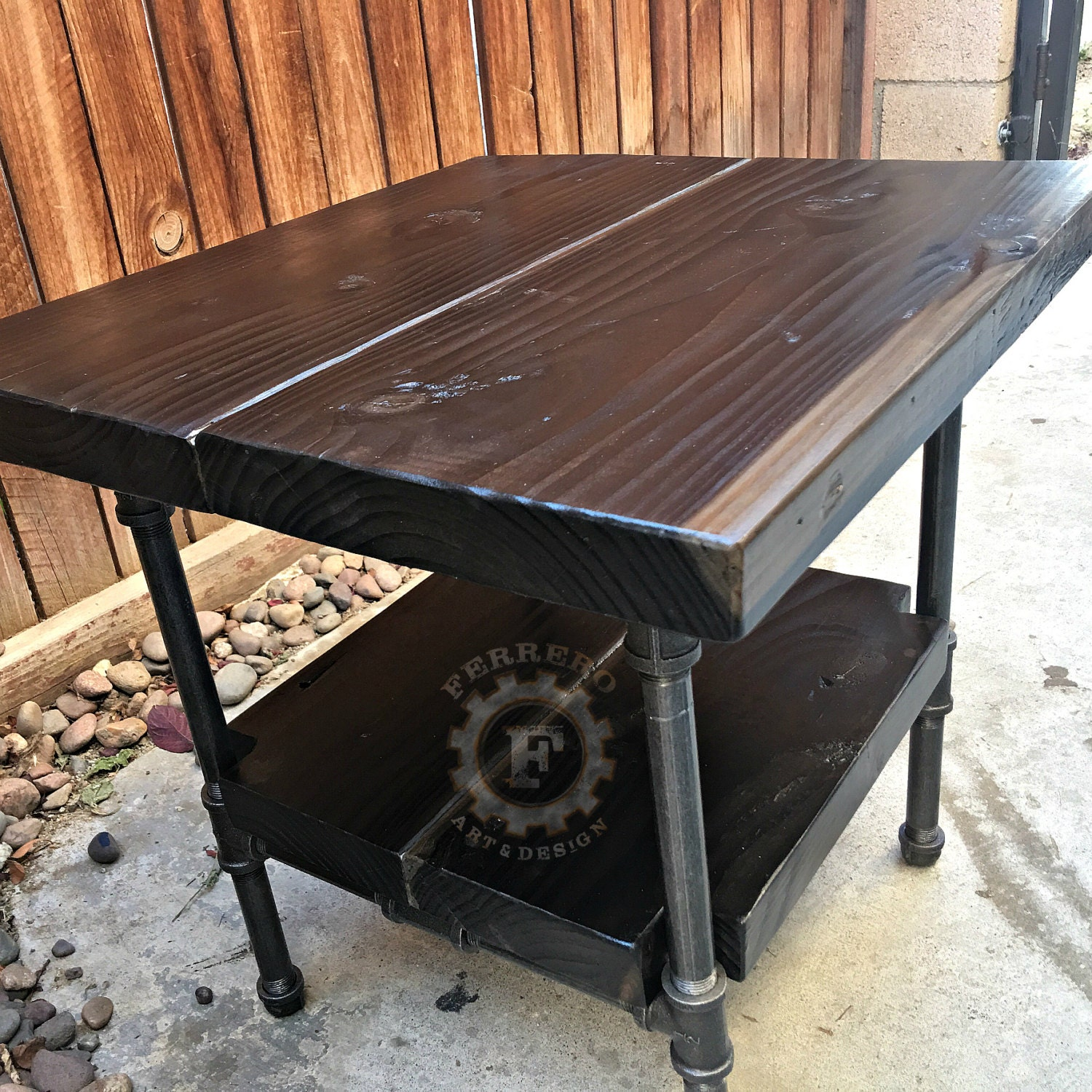 This Sleek And Rustic Industrial Table Would Look Great In: Steampunk Table Industrial Nightstand Industrial Decor