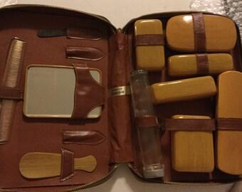 Vintage Genuine Goatskin Men's Travel Grooming Kit