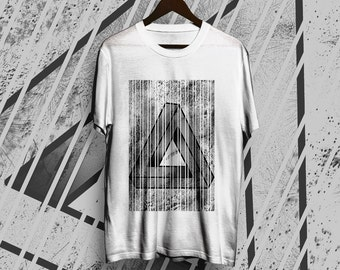 White Unisex T-shirt Picto Triangle Geometry
