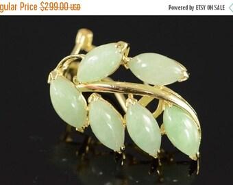 1 Day Sale 14K Jade Leaf Omega Back Earrings Yellow Gold