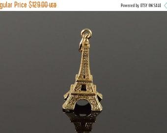 1 Day Sale 14K Eiffel Tower Paris France 3D Charm/Pendant Yellow Gold