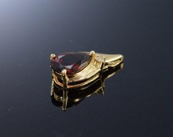 18K 1.26 CTW Garnet Diamond Tear Drop Charm/Pendant Yellow Gold - EM2381