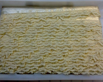 Ruffled Lace with Satin Ribbon Edge - Sold by the Bolt