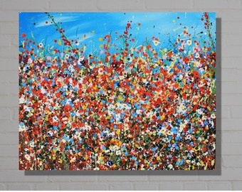 Field of Flowers, acrylic painting on deep edged canvas. Original abstract wall art.Contemporary art. Size: 30 x 24 inches.