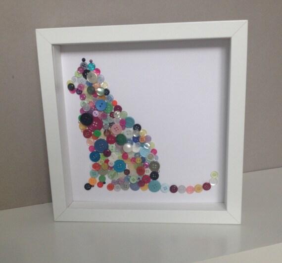 Button Cat Wall Art, Button Art Cat, Button Animals, Mothers Day Gift Idea