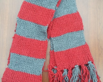 Red and Grey Striped Scarf