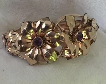 K & B 1/20 12K GF Victorian cuff bracelet with amethyst colored rhinestones