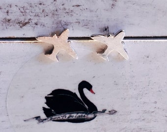 Born to be Loved. Sterling silver earrings. Airplane