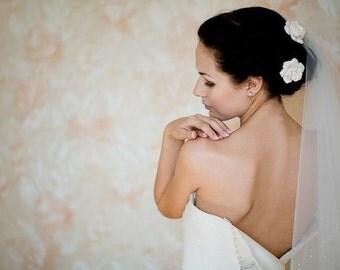 Bridal hair flower Gardenia, bridal flower hair clip, wedding hair flowers, bridal hair clip, hair clay flower, bridal hair accessory