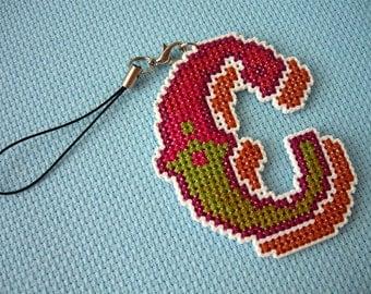 Personalised Cross stitch phone charm - alphabet letter, Custom order cross stitch letter, kawaii charm, Dust Plug, Earphone Plug