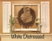 Old Window Frame, Shutters,  Farmhouse Decor, Grapevine Wreath, Fixer upper decor