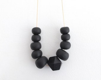 Geometic necklace, necklace, jewellery, black, wood, statement, polymer clay, chunky beads, long necklace, clay, boho, bold, big beads, fimo
