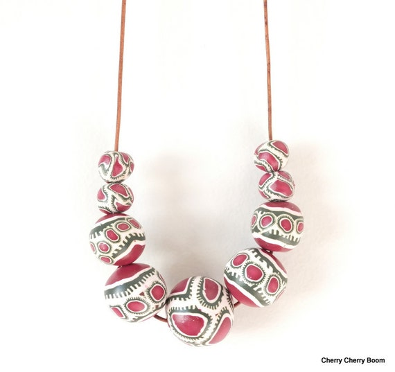 Polymer necklace, necklace, jewellery, polymer clay, long necklace, statement, boho, chunky, colourful, cord, unique, pink, bold, fimo