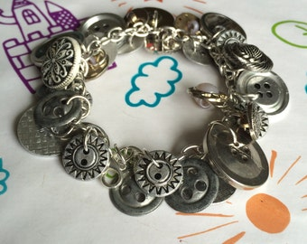 SALE Button Charm Bracelet with Vintage Metal Buttons on a Silver chain.  Unique, Individual, One-of-a-kind.