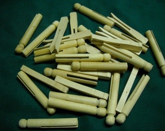 """31 Wooden Wood Slotted Clothespins 2 Styles 3.75"""" Doll Puppet Crafts"""