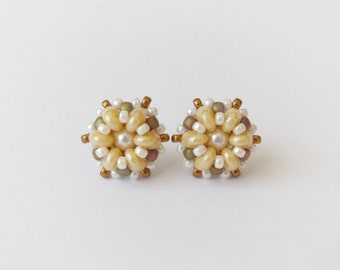 Beaded stud earrings, post earrings, beadwork earrings, small earrings, fashion earrings, office jewelry