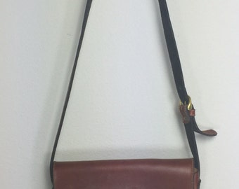 70's Dark Brown Leather Saddle Bag
