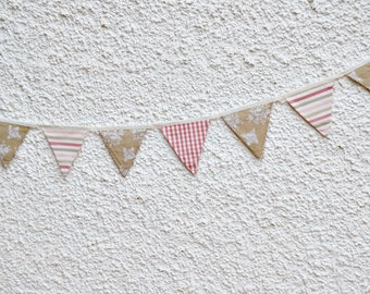 Softly Pastel Bunting Banner. Fabric Pennant Flag Garland. Baby Shower Shabby Chic garland. Garden party. Baby Girl. Wedding Garland.