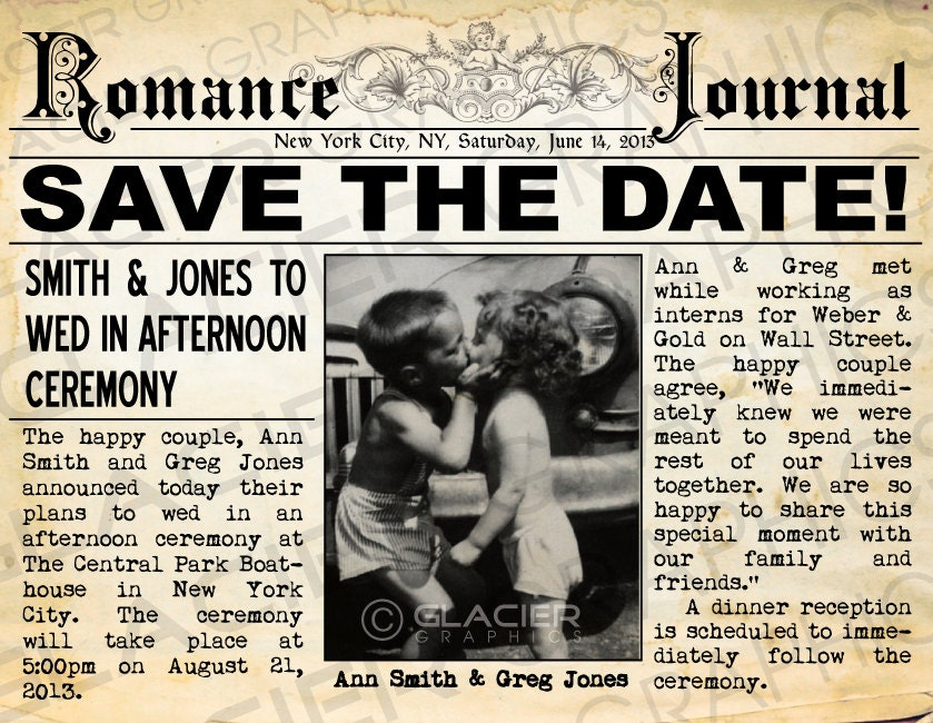Save the date postcard vintage newspaper announcement rustic for Wedding announcement ideas for newspaper
