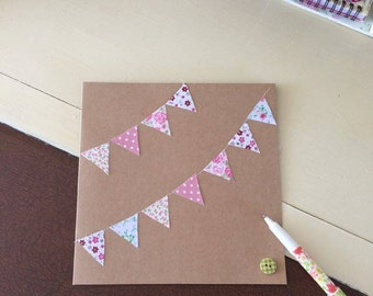 Kraft Hand made Greetings Card Fabric Bunting Stitched Birthday Celebration Thank you Blank