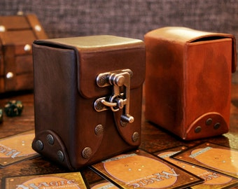 Custom Leather Deck Box - Trading Cards, MTG, Yugioh, Pokemon, Steampunk, Cosplay, Accessory