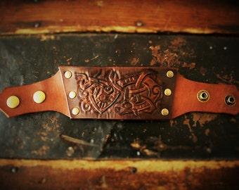 Leather Viking Dragon Knotwork Bracelet with Brass