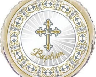 Gold and Silver Cross Baptism Balloon/ 1 CT Baptism Cross Balloon/ Baptism Party Supplies/ Baptism Party