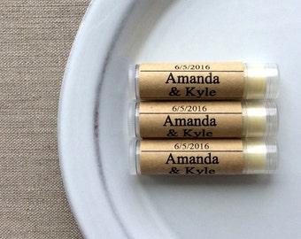 50 Personalized lip butter favors, lip balms, personalized lip balm favors, custom lip balms, Wedding favors, wedding lip balms