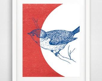 Blue bird, baby room decor, wall prints, nursery wall art, bird art, affiche scandinave, cool posters, bird prints, boys room decor