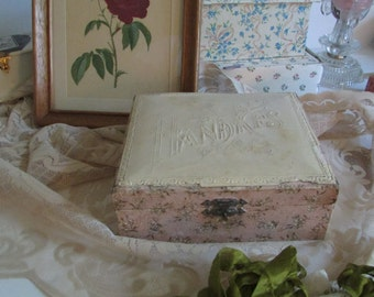 antique celluloid lid box pink and green with HANDKFS on the top ??