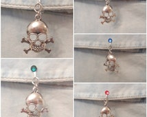 Non Piercing No Hole Silver Plated Clip On Fake Belly Ring Bar Barbell With Dangle Skull and 5mm Accent Stone in Your Choice of Color