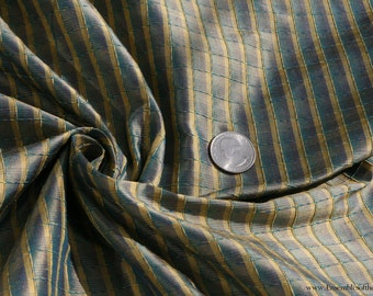 "100% Silk Fabric, Blue/Yellow small plaid, by the yard, 54"" WIDE, EP Silk #41"