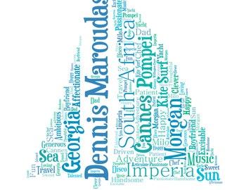 Personalised Word Art / Word Cloud - Yacht - Digital JPEG