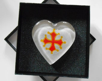 Press paper heart glass - painting on glass - cross of Biscay - glittery silver background