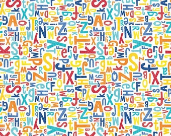 CRAYOLA Color Me Alphabet White C5401- MULTI < Colorfully Creative Collection from Riley Blake Designs > Back to School < Fabric by the Yard