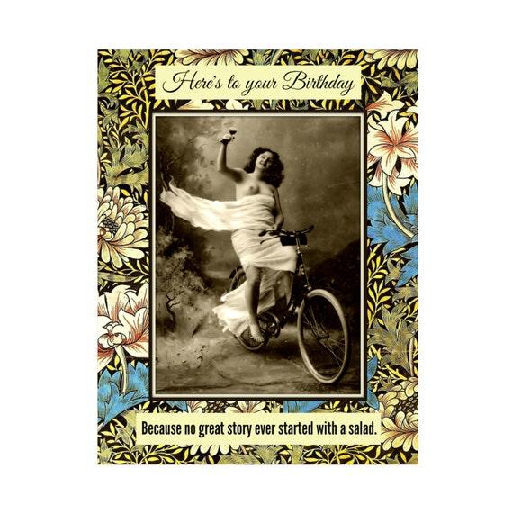 Salad. Funny Birthday Card Retro Card Vintage Beauty Card