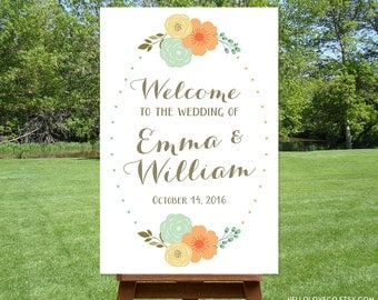 PRINTABLE Large Wedding Welcome Sign | Floral Wedding Reception Sign | Engagement Party Sign | Personalized Wedding Sign DIGITAL