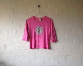 hot pink crop fiorucci tee