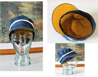 Handmade Denim hat Unisex hat Newsboy cap Baker Boy Cap Sun hat Edwardian Peaky Blinder Made in Ireland Bohemian Unique Repurposed Denim hat