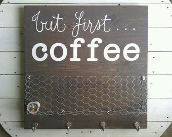solid wood coffee station with custom wire basket for coffee pods and 4 mug hooks