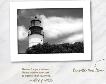 Key West lighthouse landscape 12x18 Black & White fine art print matted to 24x18. Artist signed