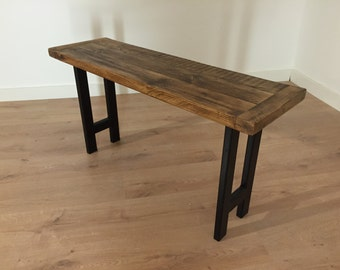 Dining Bench Reclaimed Pine with Black Furniture Graded Steel Legs